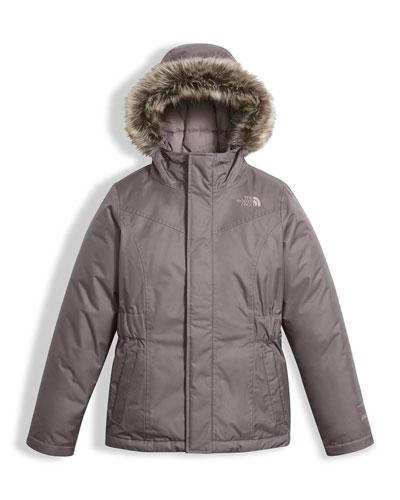 Greenland Down Parka w/ Faux-Fur Trim, Gray, Size XXS-XL