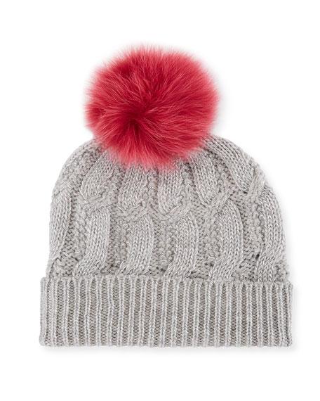 Sofia Cashmere Metallic Seed-Stitch Beanie Hat w/ Fur