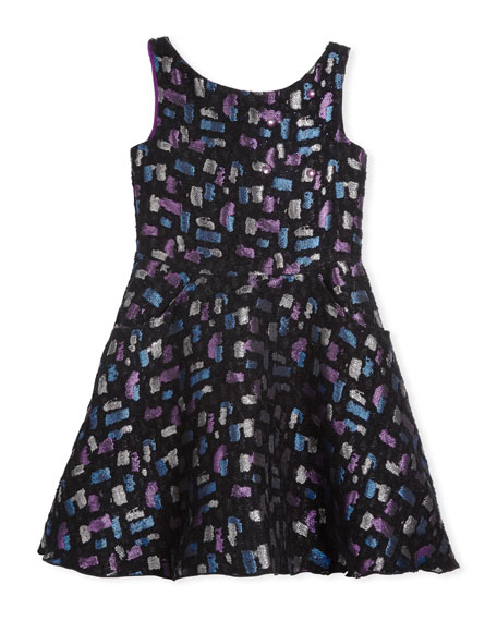 Zoe Confetti Night Sleeveless Metallic Dress, Size 4-6X