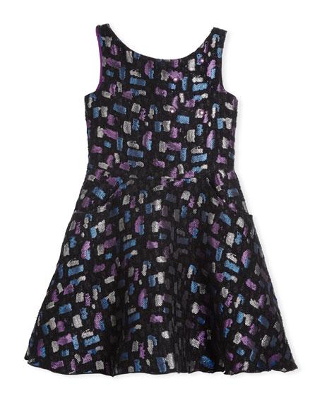 Zoe Confetti Night Sleeveless Metallic Dress, Size 4-6X