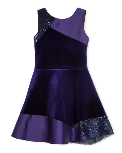Velvet Colorblock Sleeveless Dress, Size 4-6X