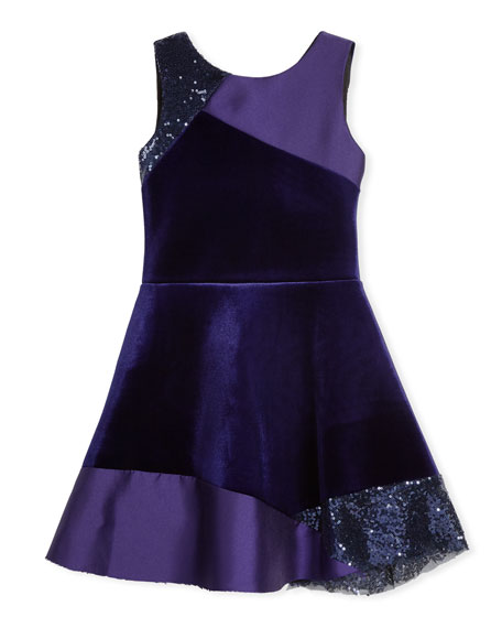 Zoe Velvet Colorblock Sleeveless Dress, Size 4-6X and