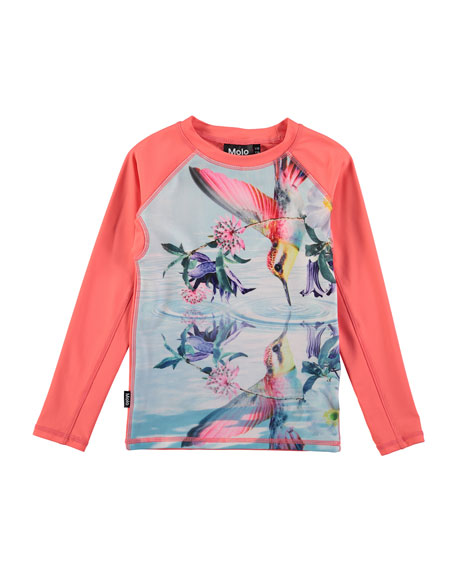 Molo Neptune Bird-Print Long-Sleeve Rash Guard, Size 2T-12