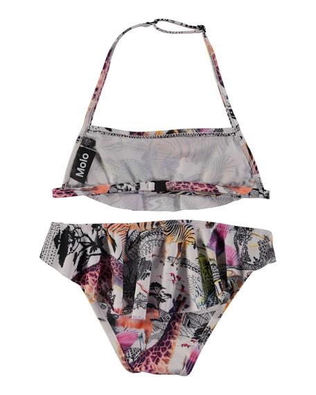 Nula Ruffle-Overlay Safari Bikini, Size 2T-14