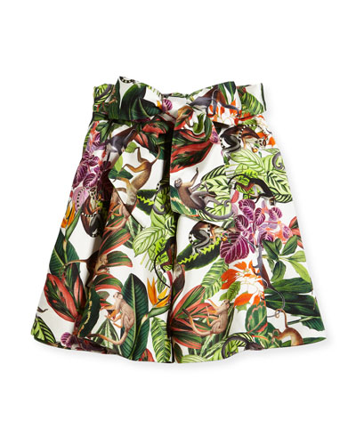 Mikado Jungle Monkeys Bow Skirt, Size 4-14