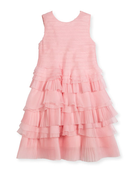 Organza Pleated Ruffle Dress, Size 4-14