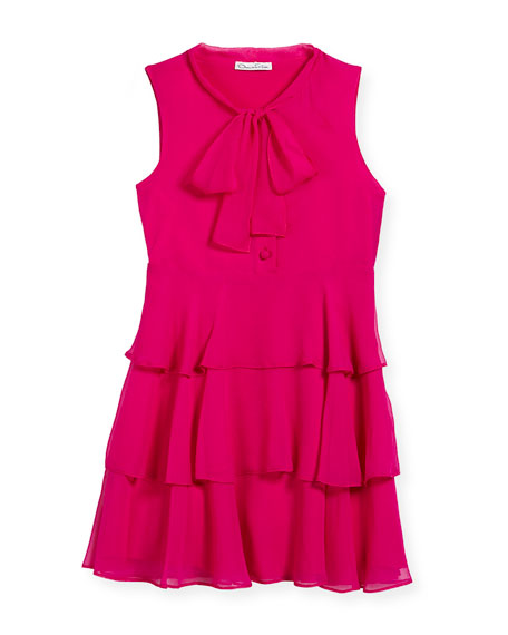 Oscar de la Renta Chiffon Bow Tiered Dress,