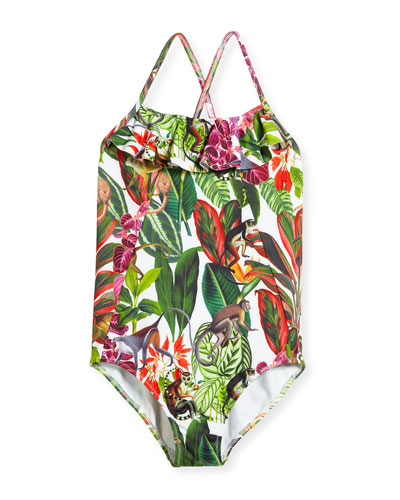 Jungle Monkeys Ruffle One-Piece Swimsuit, Size 2-14
