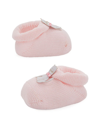 Kitty Cat Knit Booties, Light Pink, Infant