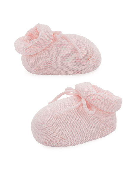 Basic Cotton Bootie w/ Bow, Light Pink, Infant