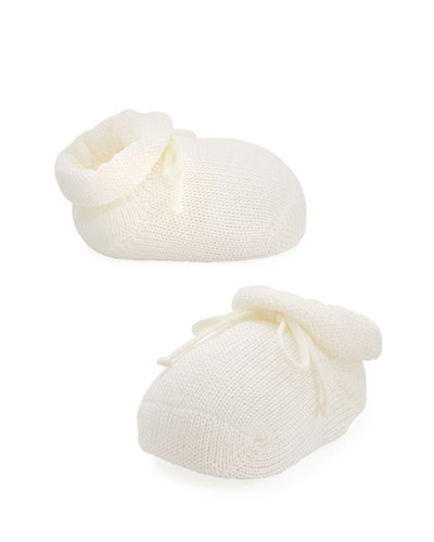 Basic Cotton Bootie w/ Bow, Cream, Infant