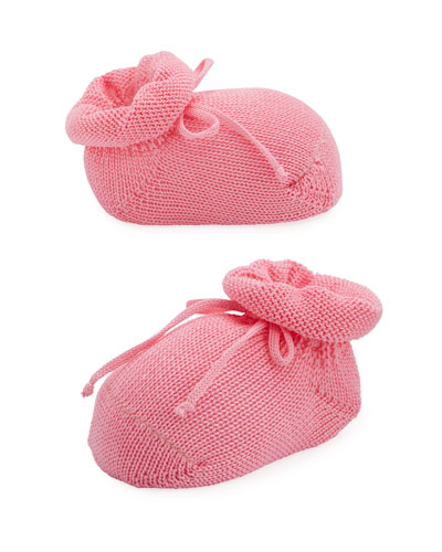 Basic Cotton Bootie w/ Bow, Medium Pink, Infant