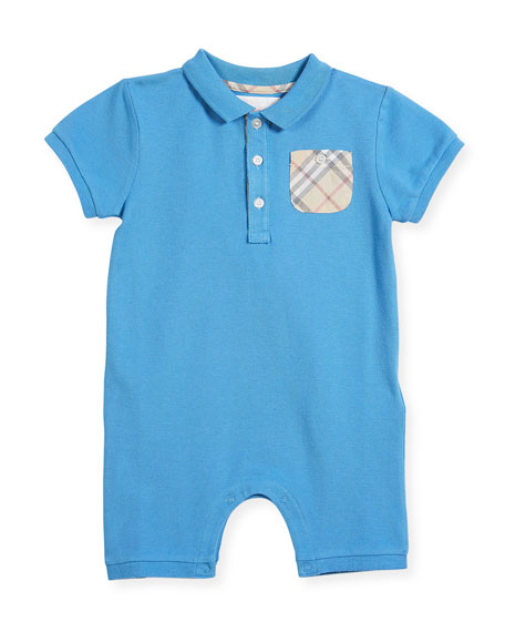 Peter Pique Polo Playsuit w/ Check Pocket, Size 3-24 Months