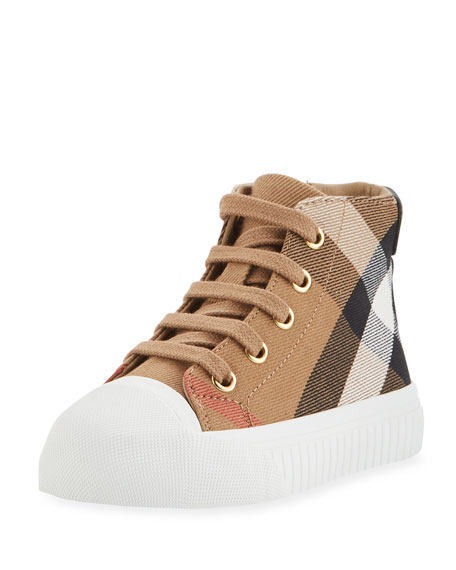 Burberry Belford Check High-Top Sneaker, Beige, Toddler Sizes