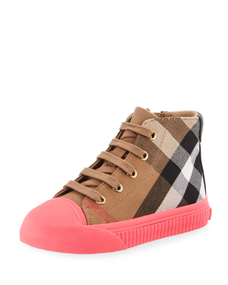 Burberry Belford Check High-Top Sneaker, Beige/Pink, Toddler