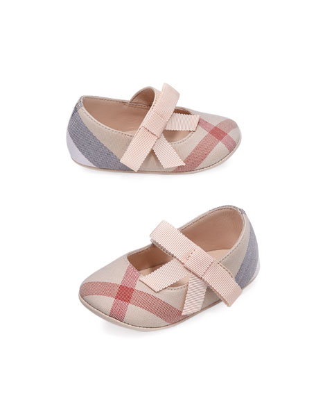 Burberry Girls' Stark Check Mary Jane, Pink, Infant
