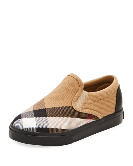Burberry Linus Check Canvas Slip-On Sneaker, Toddler/Youth Sizes