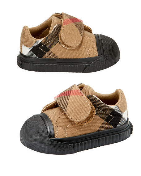 Burberry Beech Check Sneaker, Beige/Black, Infant/Toddler Sizes