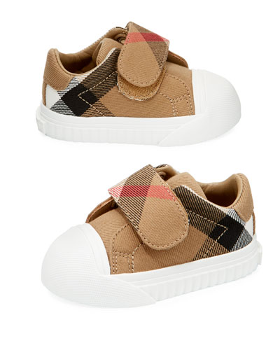 Beech Check Sneaker, Beige/White, Infant/Toddler Sizes 3M-5T