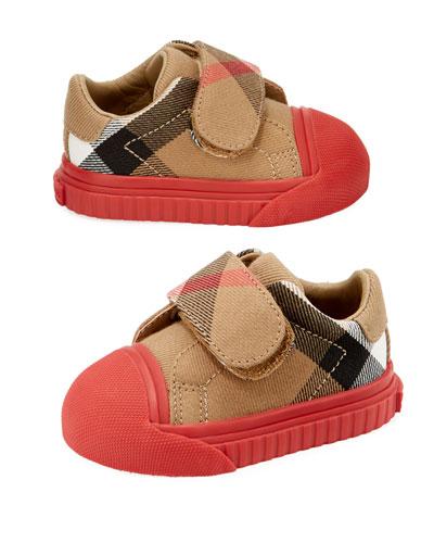 Beech Check Sneaker, Beige/Red, Infant/Toddler
