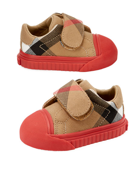 Beech Check Sneaker, Beige/Red, Infant/Toddler Sizes 3M-5T