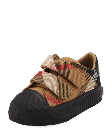 Burberry Belside Check Sneaker, Beige/Black, Toddler Sizes 7-10
