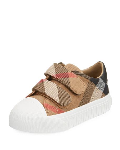 Burberry Belside Check Sneaker, Beige/White, Toddler Sizes 7-10
