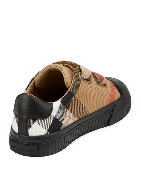 Belside Check Sneaker, Beige/Black, Toddler/Youth Sizes 10T-4Y