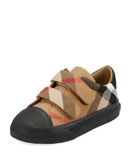 Burberry Belside Check Sneaker, Beige/Black, Toddler/Youth Sizes