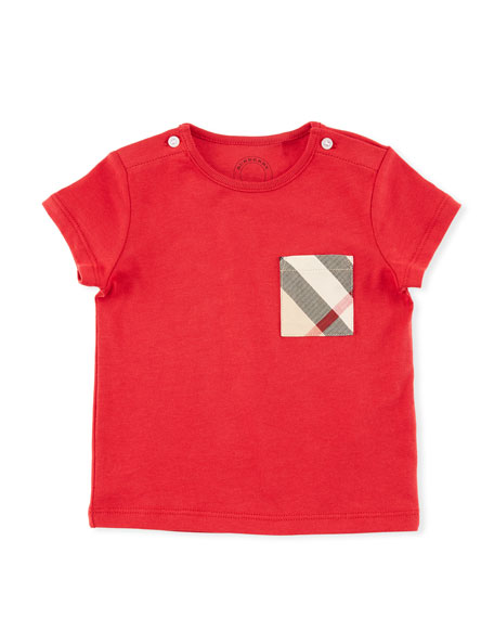 Burberry Cotton Check-Pocket Jersey Tee, Red, Size 6M-3Y