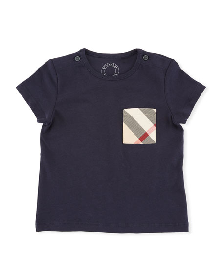 Burberry Cotton Check-Pocket Jersey Tee, Navy, Size 6M-3Y