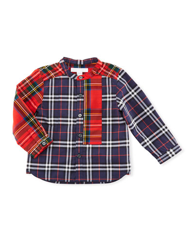 Argus Mixed-Check Mandarin-Collar Shirt, Navy, Size 6M-3Y
