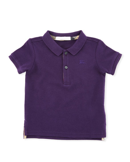 Burberry Palmer Short-Sleeve Polo Shirt, Purple, Size 6M-3Y