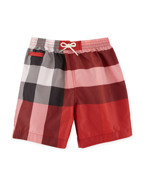 Saxon Check Swim Trunks, Red, Size 6M-3