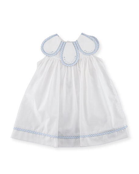Petal Dress w/ Check Trim, Size 3-24 Months