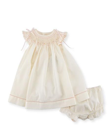 Smocked Ribbon Dress w/ Ruffle Bloomers, Size Newborn-9M