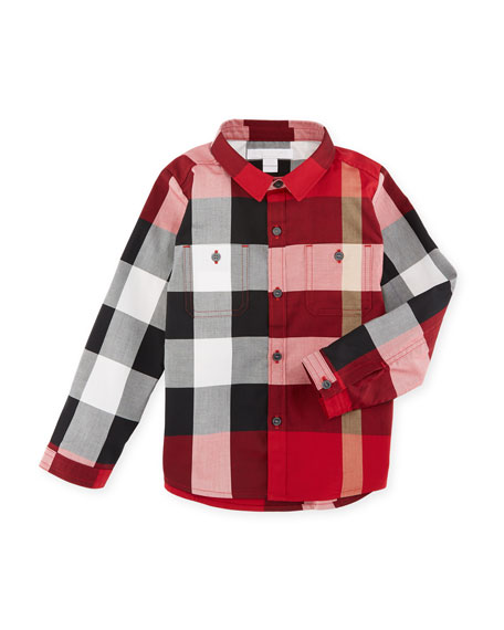 Burberry Mini Camber Check Shirt, Red, Size 6M-3