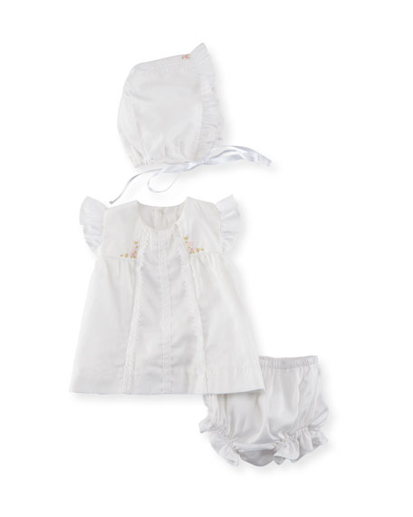 Luli & Me Cotton Dress Layette Set, Size