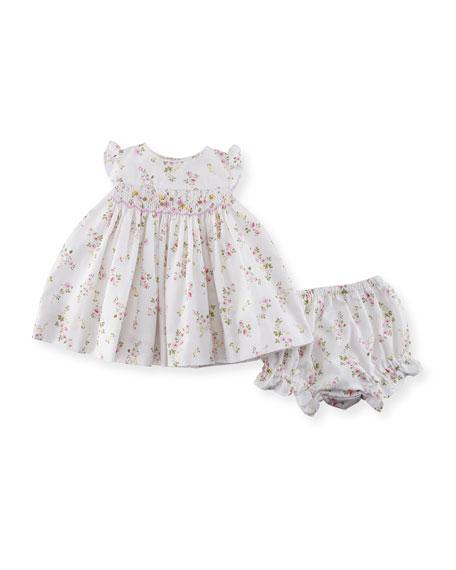 Flower-Print Dress w/ Bloomers, Size 3-24 Months
