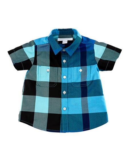 Burberry Mini Camber Short-Sleeve Check Shirt, Blue, Size