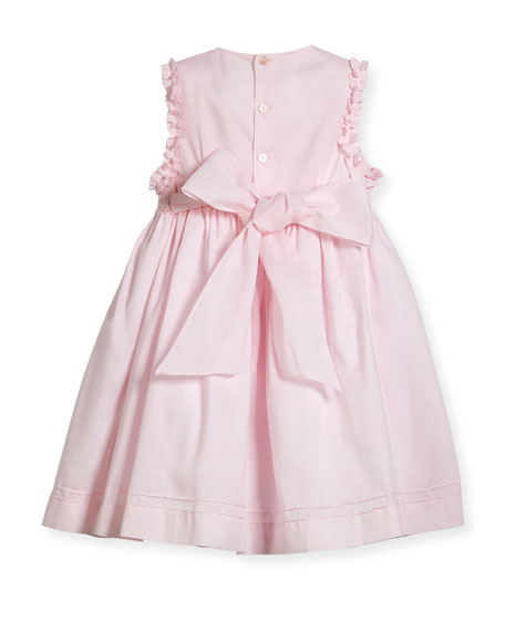 Sleeveless Smock Embroidered Dress, Pink, Size 2-4T
