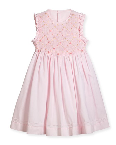 Luli & Me Sleeveless Smock Embroidered Dress, Pink,