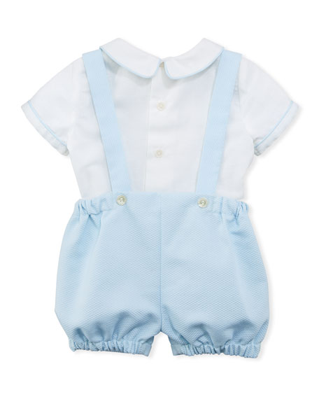 Contrast-Piping Shirt w/ Suspender Shorts, Size 12-24 Months