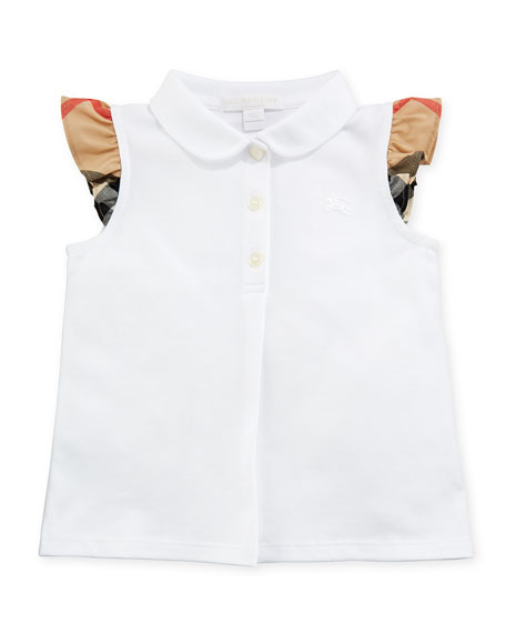 Tia Cotton-Stretch Polo Shirt w/ Ruffle Check Sleeves, White, Size 6M-3Y