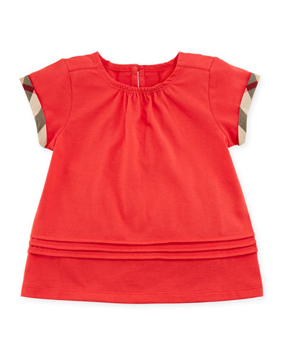 Gisselle Pintucked Jersey Tee, Red, Size 6M-3Y
