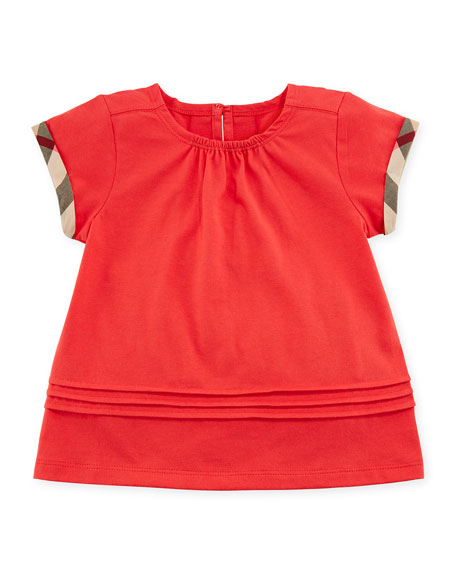 Burberry Gisselle Pintucked Jersey Tee, Red, Size 6M-3Y