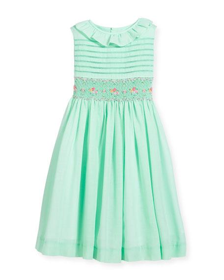 Smocked Ruffle-Collar Dress, Turquoise, Size 2-4T