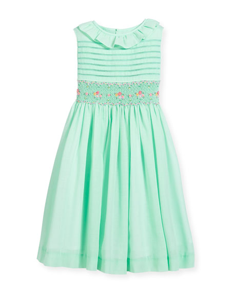 Luli & Me Smocked Ruffle-Collar Dress, Turquoise, Size