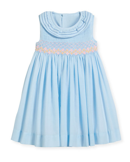 Luli & Me Smock Dress w/ Ruffle Neck,
