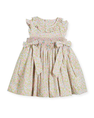 Ruffle Floral Smocked Dress, Size 2-4T